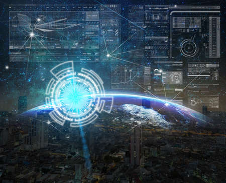 Technology digital virtual screen with the Network connection on Part of earth with sun rise and lens flare over the Milky Way and cityscape background, innovation concept