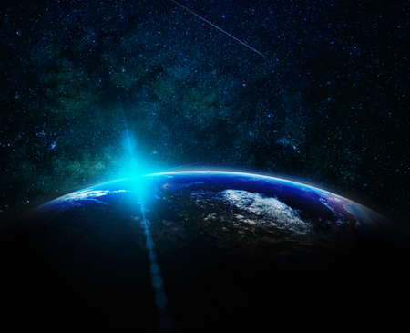 Part of earth with sun rise and lens flare over the Milky Way background, Internet Network concept Zdjęcie Seryjne - 166742913