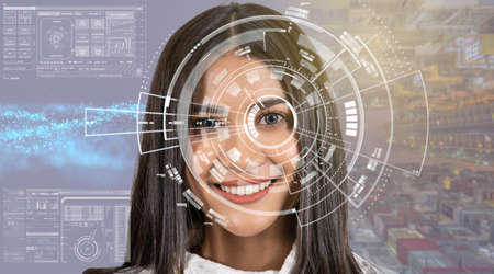 Asian women being futuristic vision over the Part of graphic particle, digital technology screen over the eye vision background,security and command in the accesses. surveillance and sefety concept