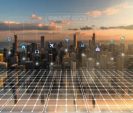 Artificial Intelligence for Deep Learning Technology over the Philadelphia Pennsylvania cityscape with Expressway in rush hour at the evening time, United States Zdjęcie Seryjne