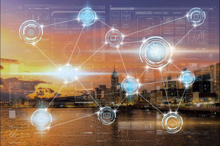Wireless communication connecting of smart city Internet of Things Technology which driving by Brain icon over Hong Kong Cityscape river view at the sunrise time,technology and architecture concept Zdjęcie Seryjne - 165280322