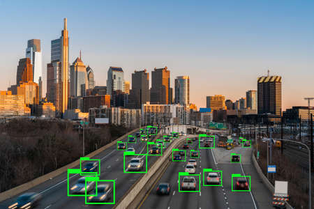 Artificial Intelligence for Deep Learning Technology over the Philadelphia Pennsylvania cityscape with Expressway in rush hour at the evening time, United States Zdjęcie Seryjne - 165280243
