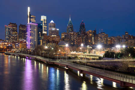 Scene of Philadelphia cityscape river side at the twilight time, USA downtown skyline,pennsylvania, United state of america, Architecture and building,travel with tourist concept
