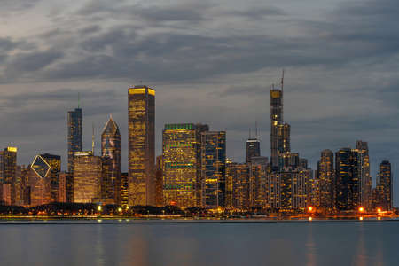 Chicago Cityscape river side along Lake Michigan at beautiful twilight time, Illinois, United States, building and real estate, Business Architecture and building, travel and tourist concept