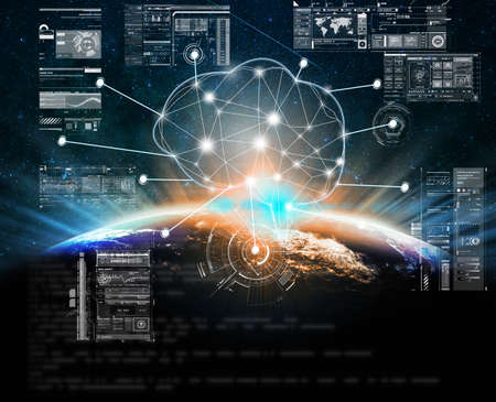 Polygonal brain shape of artificial intelligence with Technology digital virtual screen over Part of earth over the Milky Way background