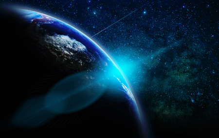 Part of earth with sun rise and lens flare over the Milky Way background, Internet Network concept