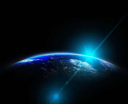 Part of earth with sun rise and lens flare background, Internet Network concept Archivio Fotografico