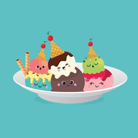 Ice Cream, Collection of Ice Cream, Character cartoon Illustration