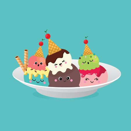 Ice Cream, Collection of Ice Cream, Character cartoon Vettoriali