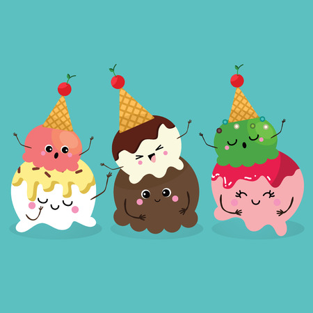 Ice Cream, Collection of Ice Cream, Character cartoon Vettoriali