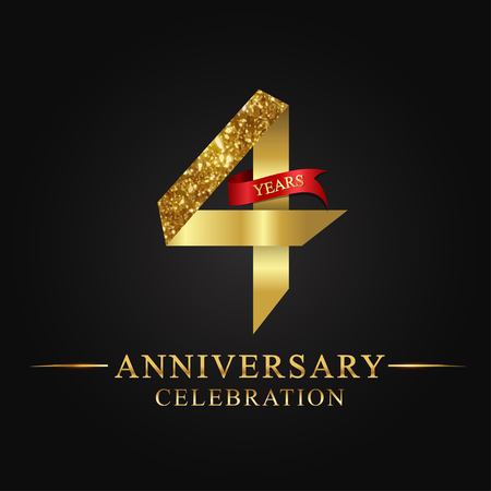 anniversary, aniversary, 4 years anniversary celebration logotype. Logo,ribbon golden number on black background.Numbers ribbon gold
