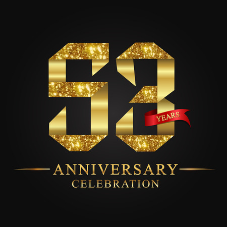 anniversary, aniversary, 53 years anniversary celebration logotype. Logo,ribbon golden number on black background.Numbers ribbon gold