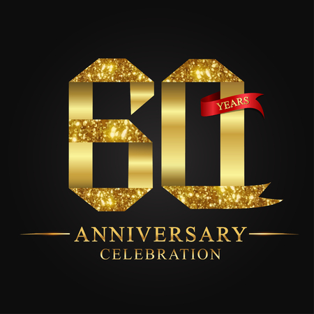 anniversary, aniversary, 60 years anniversary celebration logotype. Logo,ribbon golden number on black background.Numbers ribbon gold Illustration