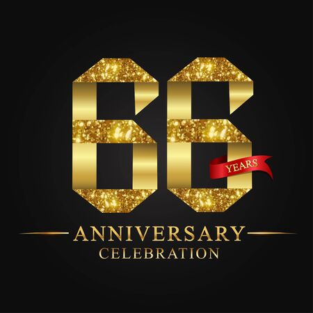 anniversary, 66 years anniversary celebration logotype. Logo,ribbon golden number on black background.Numbers ribbon gold foil.