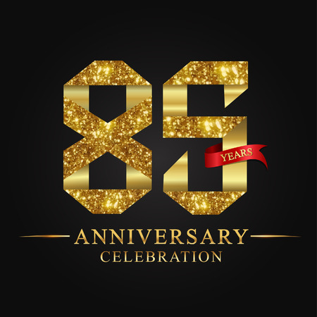anniversary, aniversary, 85 years anniversary celebration logotype. Logo,ribbon golden number on black background.Numbers ribbon gold foil.