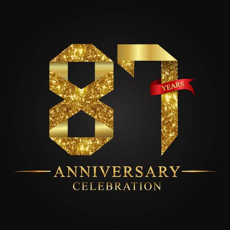 anniversary, aniversary, 87 years anniversary celebration logotype. Logo,ribbon golden number on black background.Numbers ribbon gold foil.
