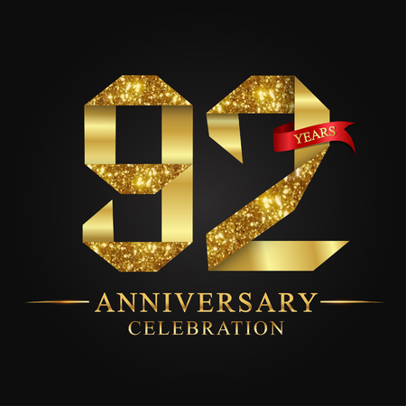 anniversary, aniversary, 92 years anniversary celebration logotype. Logo,ribbon golden number on black background.Numbers ribbon gold foil. Ilustração