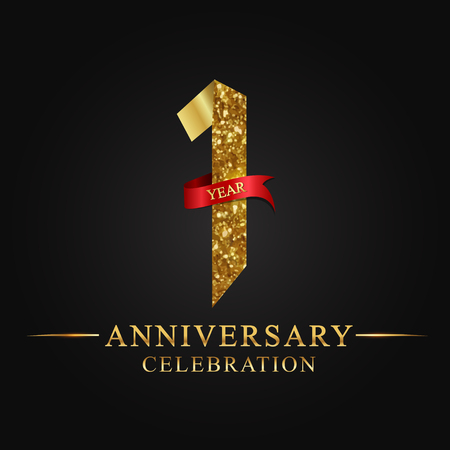 anniversary, 1 year anniversary celebration logotype. Logo,ribbon golden number on black background.Numbers ribbon gold foil.