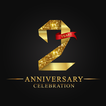 anniversary, 2 years anniversary celebration logotype. Logo,ribbon golden number on black background.Numbers ribbon gold foil.