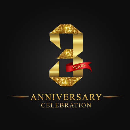anniversary, 3 years anniversary celebration logotype. Logo,ribbon golden number on black background.Numbers ribbon gold foil. Ilustração