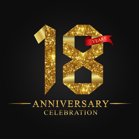 anniversary, aniversary, 18 years anniversary celebration logotype. Logo,ribbon golden number on black background.Numbers ribbon gold foil.