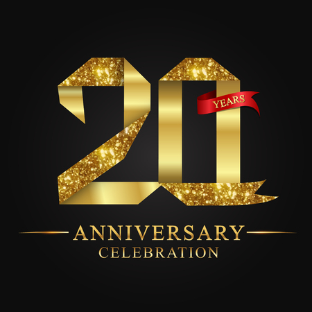 anniversary, aniversary, 20 years anniversary celebration logotype. Logo,ribbon golden number on black background.Numbers ribbon gold foil. Ilustração