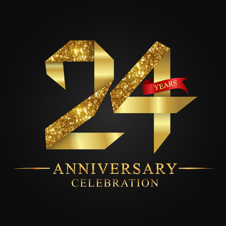 anniversary, aniversary, 24 years anniversary celebration logotype. Logo,ribbon golden number on black background.Numbers ribbon gold foil. Illustration