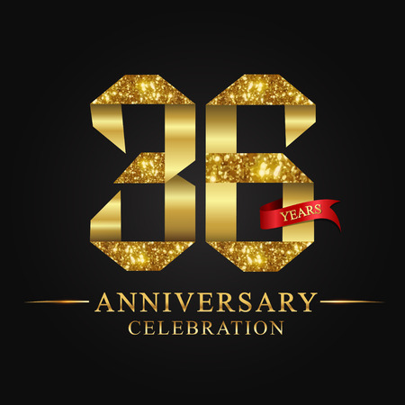 anniversary, aniversary, 36 years anniversary celebration logotype. Logo,ribbon golden number on black background.Numbers ribbon gold foil.