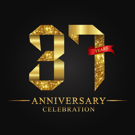 anniversary, aniversary, 37 years anniversary celebration logotype. Logo,ribbon golden number on black background.Numbers ribbon gold foil.