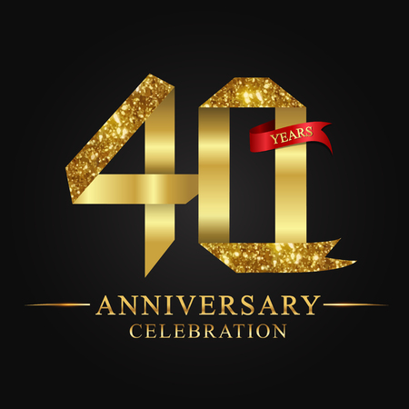 40th anniversary celebration icon in gold ribbon on black background.
