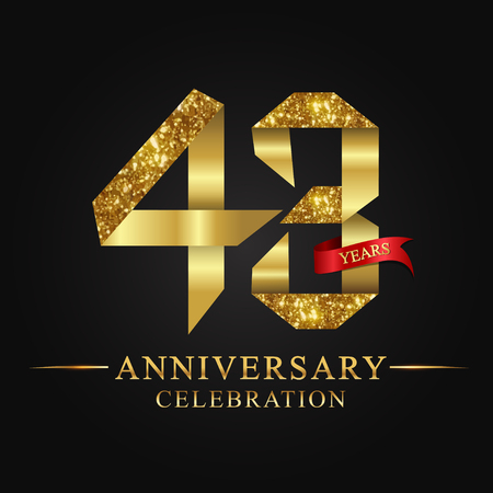 anniversary, anniversary, 43 years anniversary celebration logotype. Illustration