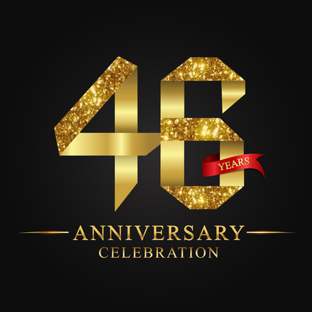 48th anniversary celebration icon in gold ribbon on black background. Illustration
