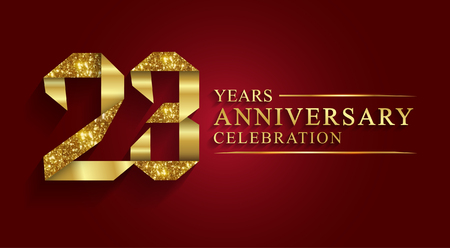 anniversary, 23 years anniversary celebration logotype. Logo,ribbon golden number on red background.Numbers ribbon gold foil.