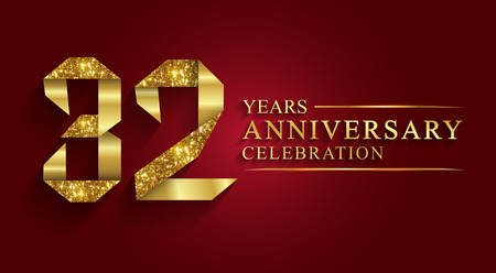 anniversary, 32 years anniversary celebration logotype. Logo,ribbon golden number on red background.Numbers ribbon gold foil.