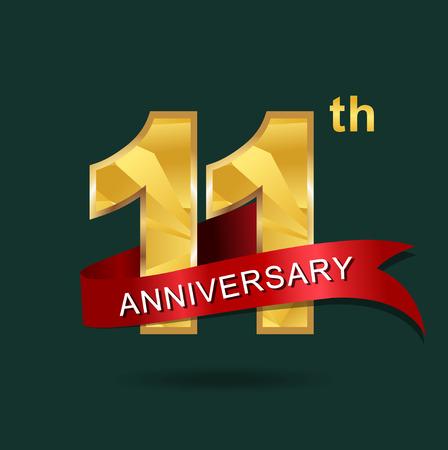 11 years anniversary celebration logotype.
