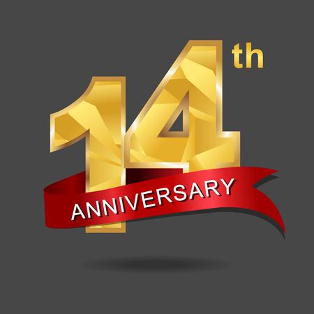 14 years anniversary celebration logotype.