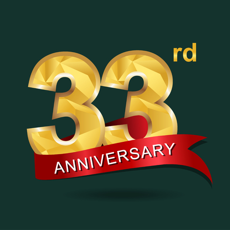 33rd anniversary, aniversary,  years anniversary celebration logotype. Logo,numbers and red ribbon. Illustration