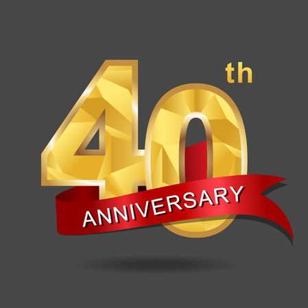 40th anniversary, aniversary,  years anniversary celebration logotype. Logo,numbers and red ribbon. Illustration
