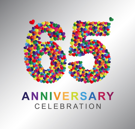 Anniversary multi-color hearts. 65th anniversary logo. Illustration