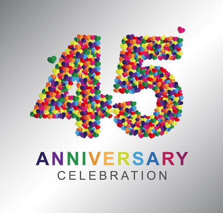 45th years made from multi-color hearts. 45th anniversary logo.