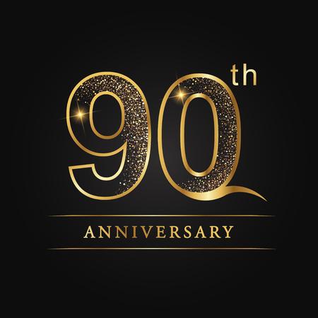 90 years anniversary celebration logotype. 90th anniversary logo Illustration