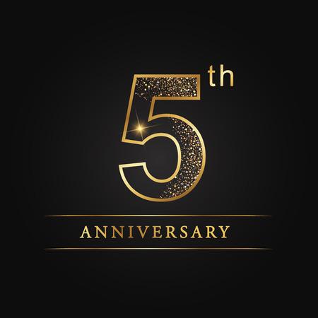 5 years anniversary celebration logotype. 5th anniversary logo  イラスト・ベクター素材