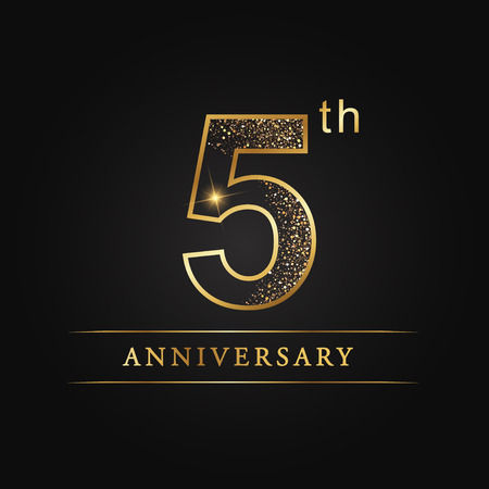 5 years anniversary celebration logotype. 5th anniversary logo Çizim