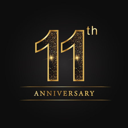 11 years anniversary celebration logotype. 11th anniversary logo