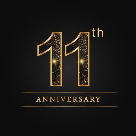 11 years anniversary celebration logotype. 11th anniversary logo