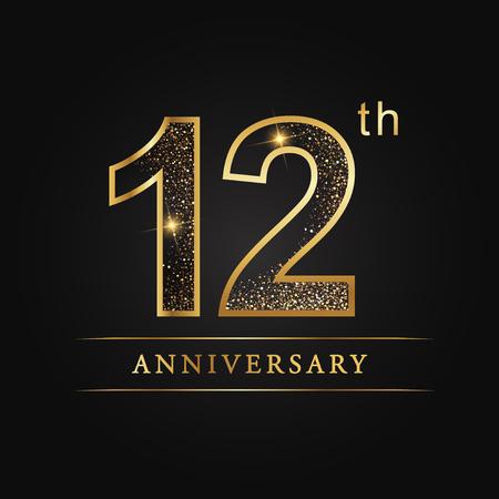 12 jaar verjaardag viering logo. 12e verjaardag logo