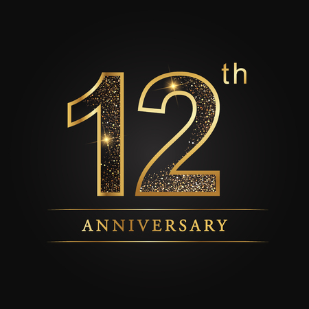 12 years anniversary celebration logotype. 12th anniversary logo
