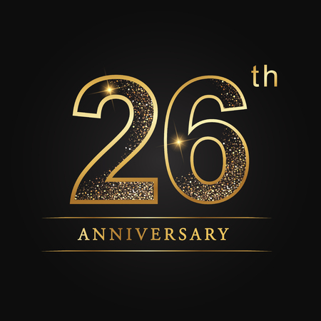 26th years anniversary celebration logo type. Illustration