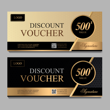 Discount voucher template with gold and black certificate. Background design coupon, invitation, currency. Set of stylish discount voucher gold and black. gift card, coupon. Standard-Bild - 99582357