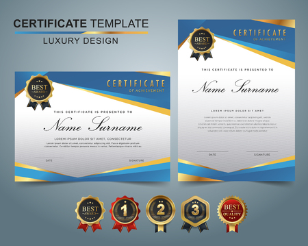 Certificate template with luxury and modern pattern, appreciation award diploma template set of blue and golden shapes and badge. Stock Illustratie